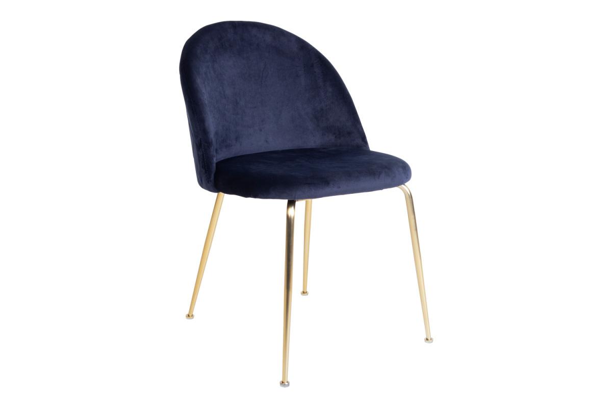 Stílusos szék Ernesto, kék / sárgaréz szín