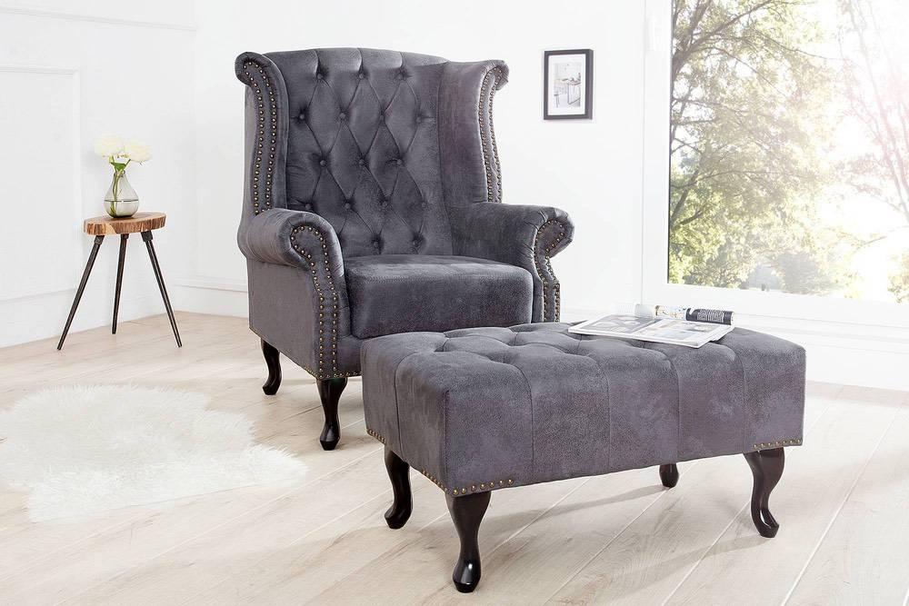 Luxus fotel Chesterfield szürke