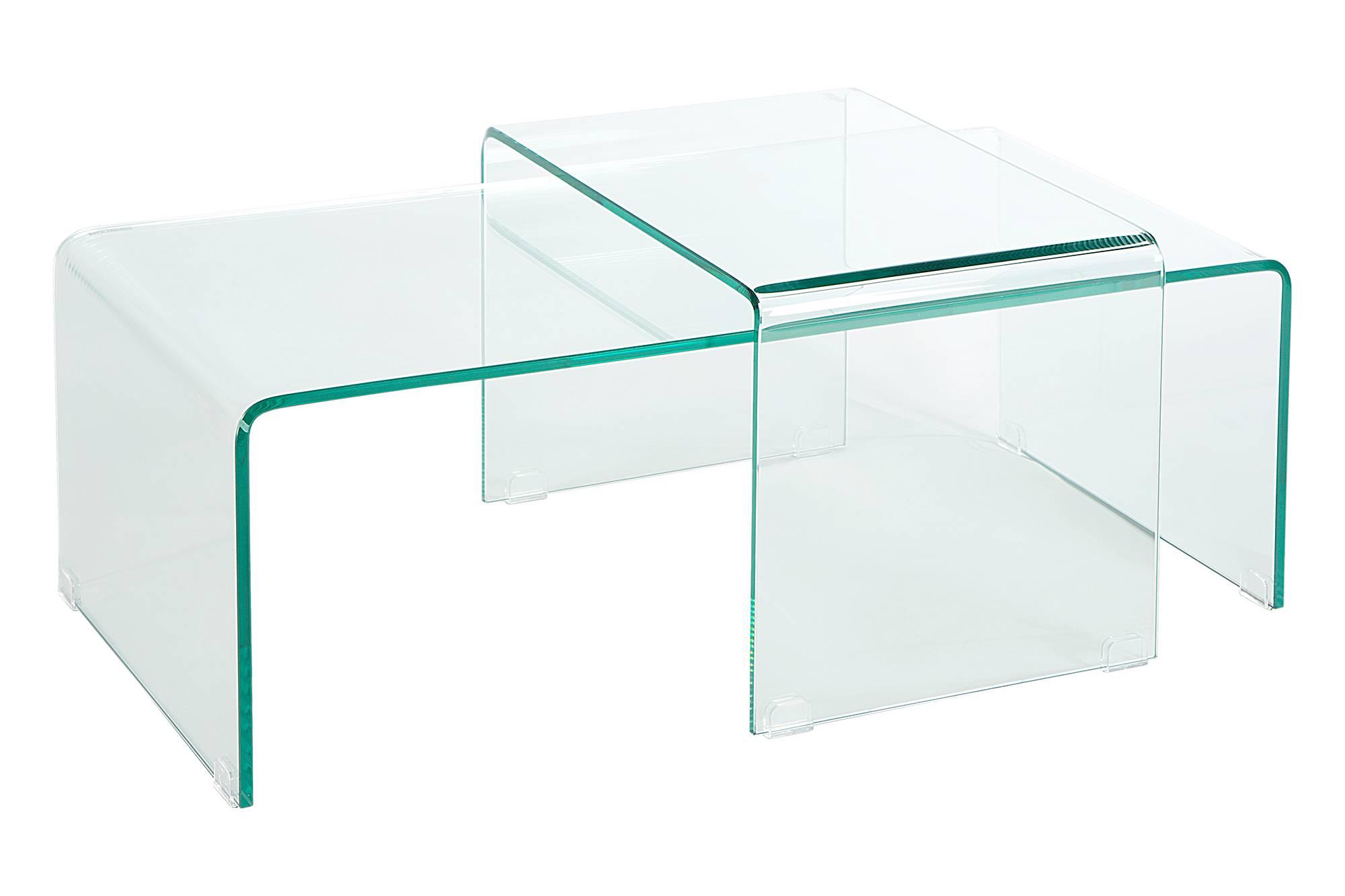2 üveg dohányzóasztalból álló szett Phantom