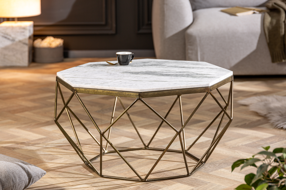 Design dohányzóasztal Acantha 70 cm márvány fehér