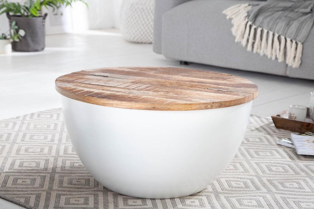 Design dohányzóasztal Malia 70 cm fehér / mangó
