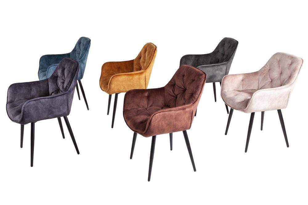 Design szék Garold szürke-zöld bársony