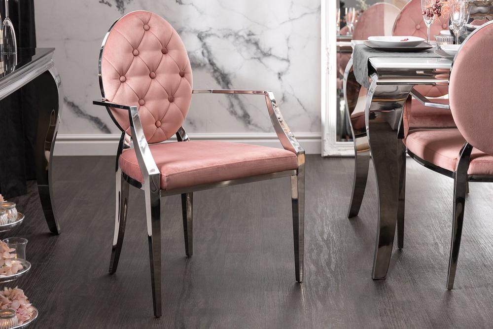 Design szék háttámlákkal Rococo II rózsaszín