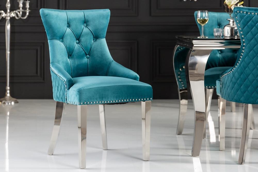 Design szék Queen Levia fej bársony türkiz