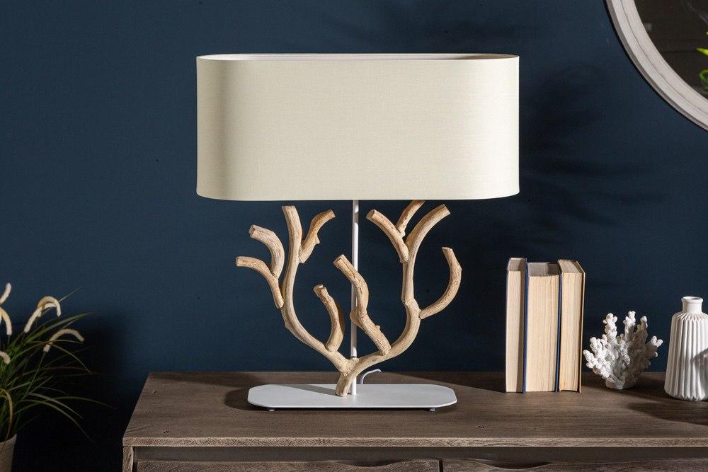 Design asztali lámpa Maleah 58 cm bézs - akác - raktáron SK