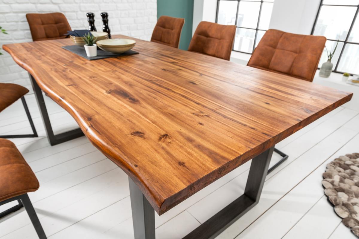 Étkezőasztal masszív akácfából Evolution 200 cm Antracit