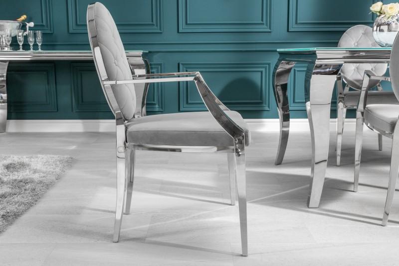 Stílusos szék Rococo II szürke / kéztámlával