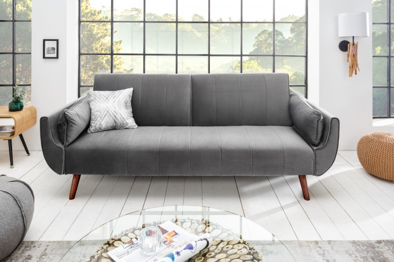 Nyitható ülőgarnitúra Amiyah / 215 cm - ezüst bársony