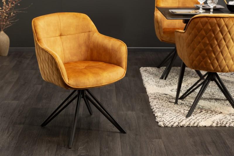 Stílusos szék Natasha mustárszínű bársony