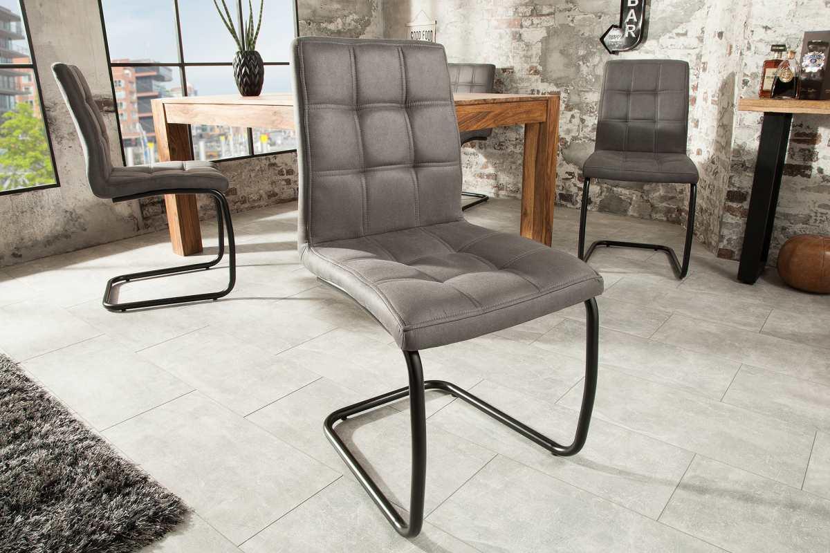 Stílusos szánkótalpas szék Moderna, szürke