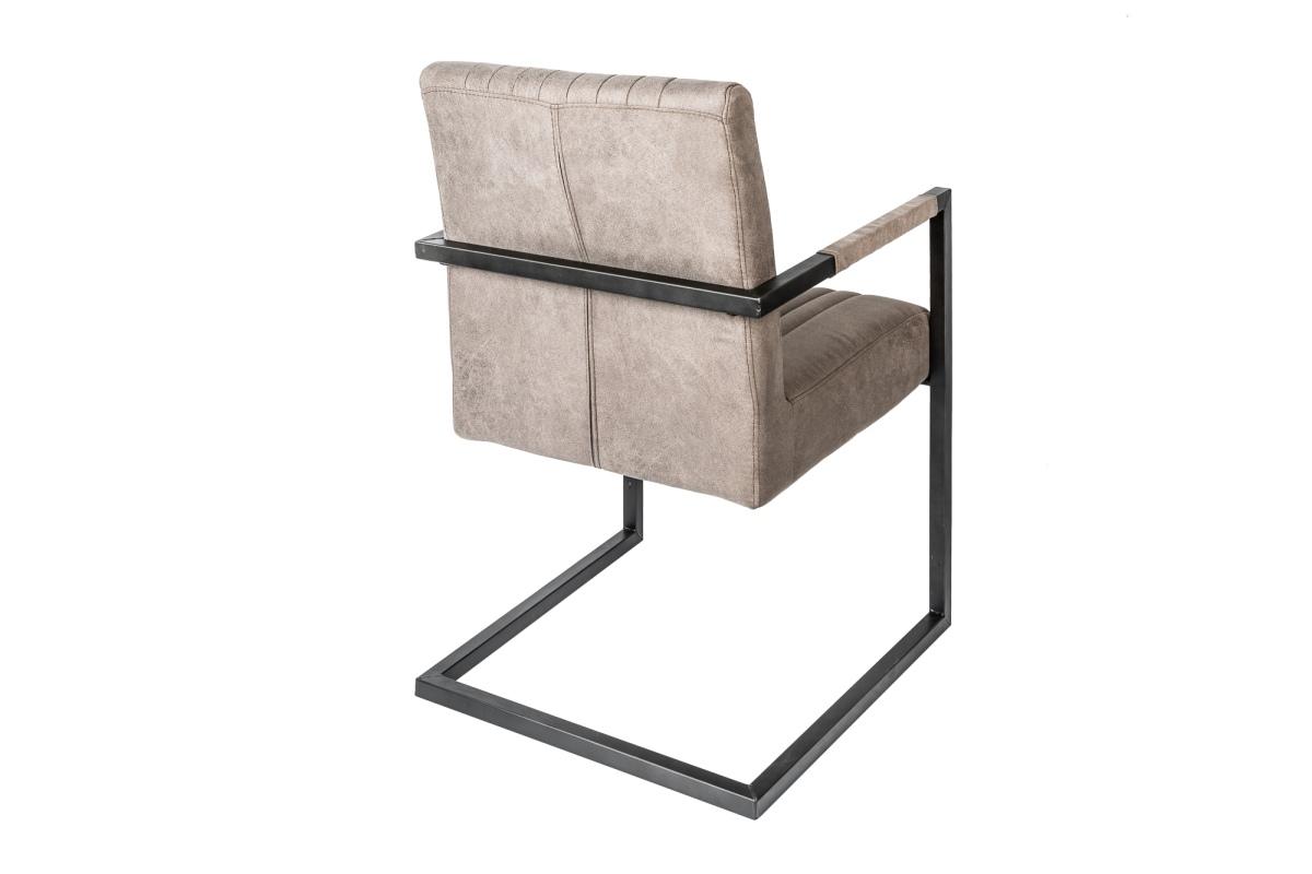 Szánkótalpas szék Boss kéztámlával, szürkés barna taupe - II.osztály 2db