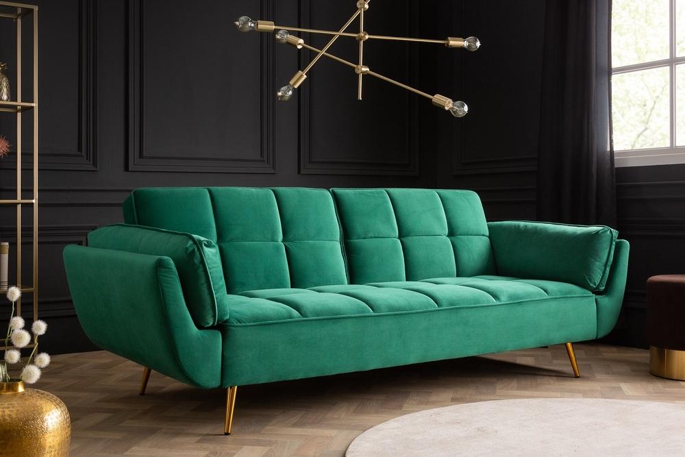 Nyitható ülőgarnitúra Bailey 213 cm smaragdzöld