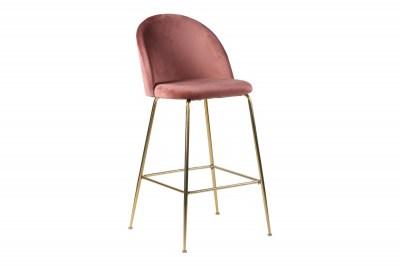 Stílusos bár szék Kristopher, rózsaszín / sárgaréz