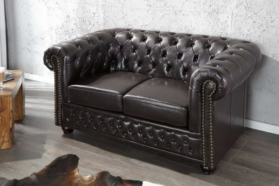 Luxus stílusos kettes ülőgarnitúra Chesterfield sötét barna