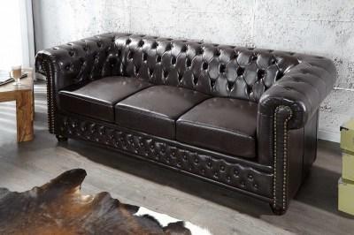 Luxus stílusos hármas ülőgarnitúra Chesterfield sötét barna