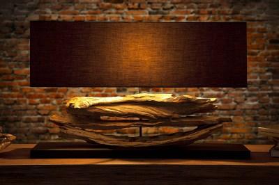 Asztali lámpa uszadékfából Lake fekete