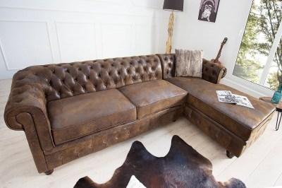 Luxus stílusos sarok ülőgarnitúra Chesterfield Vintage barna - jobbos