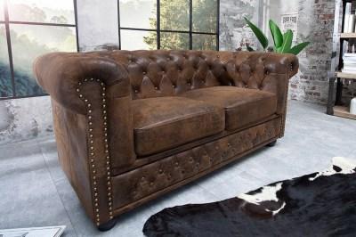 Luxus stílusos kettes ülőgarnitúra Chesterfield Vintage barna