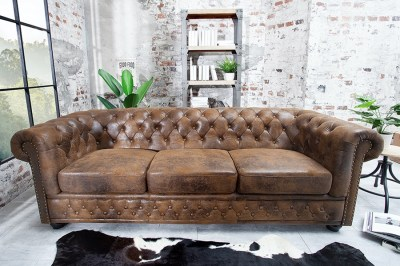 Luxus stílusos hármas ülőgarnitúra Chesterfield Vintage barna