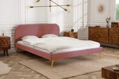 Ágy Lena 140x200 cm - rózsaszín bársony