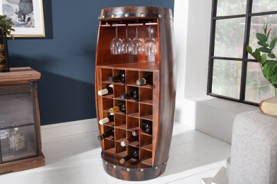 Borospalacktartó vitrin Winebar 97 cm barna fenyő