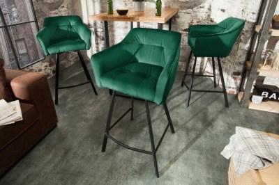 Stílusos kartámlás bár szék Giuliana 100 cm zöld bársony