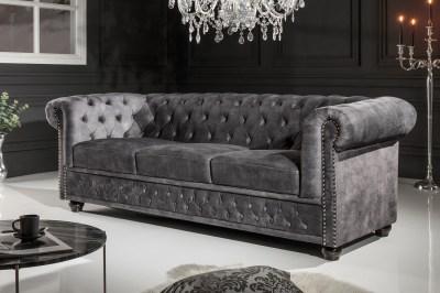 Design 3-szémelyes ülőgarnitúra Chesterfield 205 cm sötétszürke