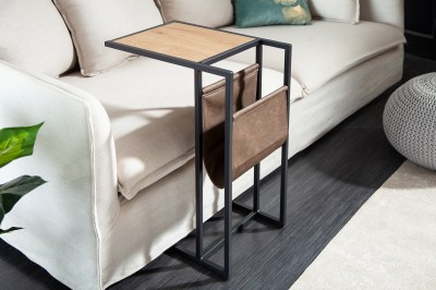 Design asztal laptophoz tárolóhellyel Giuliana 48 cm tölgy utánzata