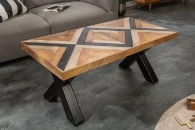 Design dohányzóasztal Rodney 110 cm fekete / mangó