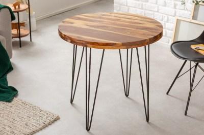 Design kerek étkezőasztal Elegant 80 cm Sheesham