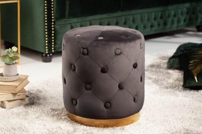 Design puff Rococo 36 cm fekete