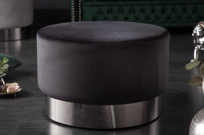 Design puff Rococo 55 cm fekete / ezüst