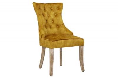 Design szék Queen bársony mustársárga