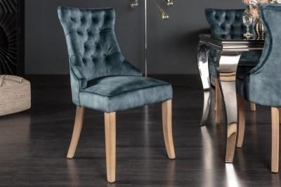 Design szék Queen bársony petrol zöld