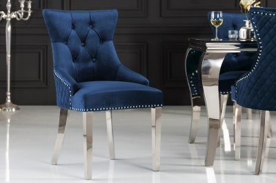 Design szék Queen Levia fej bársony királykék