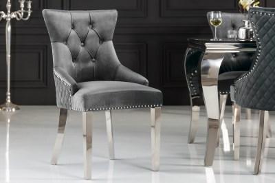 Design szék Queen Levia fej bársony szürke