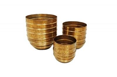 Design virágcserép szett Malia arany 3 részes
