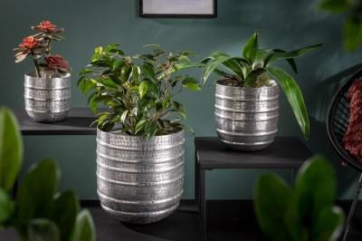 Design virágcserép szett Malia ezüst 3 részes