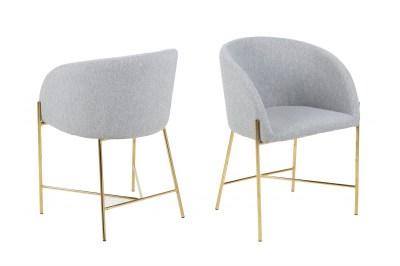 Ízléses fotel Alliser világos szürke / arany