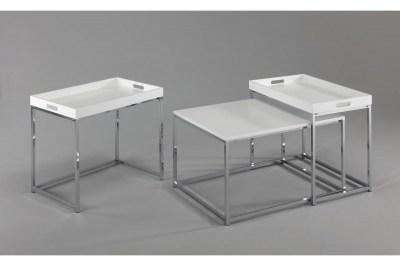Dohányzóasztal szett tálcával Factor, fehér, 3 részes