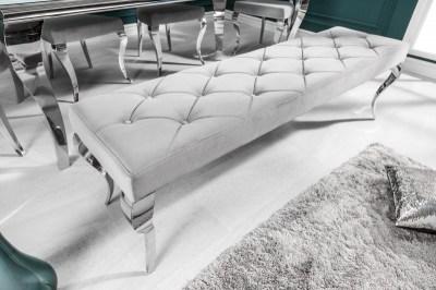 Rococo dizájnos ülőpad, 170 cm, ezüst