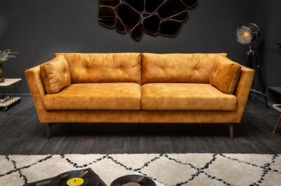Stílusos ülőgarnitúra Billy 220 cm mustársárga bársony