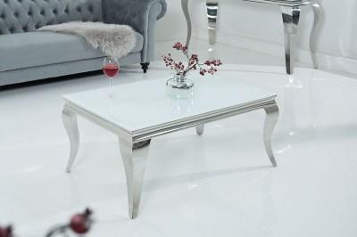 Dizajnový konferenčný stolík Rococo biely / strieborný
