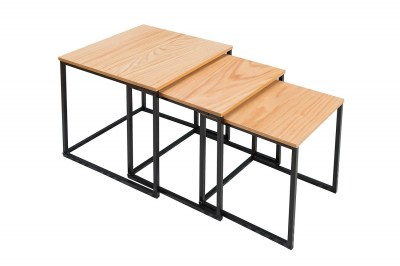Set 3 konferenčných stolov Fiesta / dub - čierna
