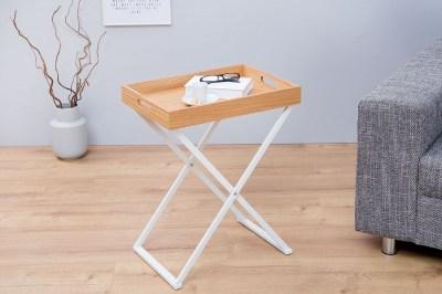 Kisasztal Veronica / természetes - fehér