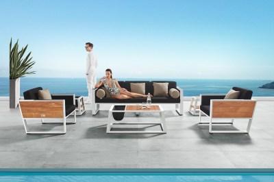 Kerti szett HIGOLD II - York Lounge White/Black Olefin