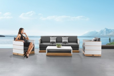 Kerti szett HIGOLD - Nutt Lounge White/Grey Wood base Sunbrella