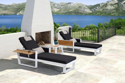 Kerti szett HIGOLD - York Sunlounge Set White/Black Olefin