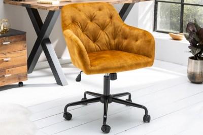Stílusos irodai szék Kiara mustársárga bársony