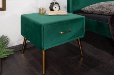 Luxus éjjeliszekrény Lena smaragdzöld bársony